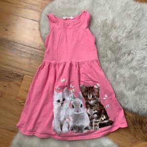 H&M girls pink baby animals dress size 6-8